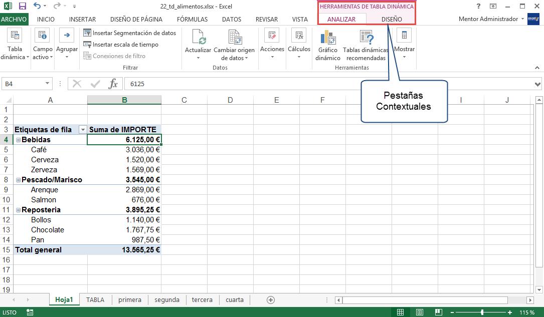 Pestañas contextuales Excel